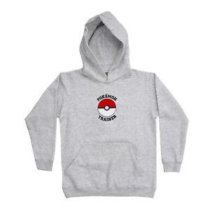 Official Kids Boys Pokémon Trainer Marl Grey Hoodie Age 5-13 Years Hooded Top
