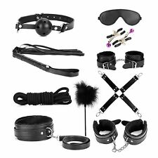 10 Pcs Kit with Blindfold Eye Mask Collar Hand Cuffs, Ankle Cuffs and Rope