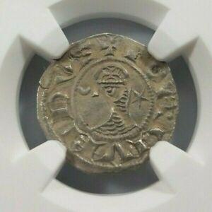 Antioch Bohemond III NGC AU 55 Silver Denier Knight Templar Crusader Cross
