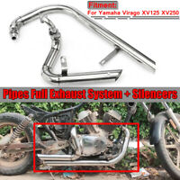 For Yamaha Virago XV125 XV250 Slash Cut Pipes Full Exhaust System + Silencers