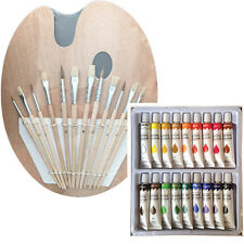 Artist 18 WATERCOLOR Painting Paint Set + 12 Brush Set with Wood Palette SET