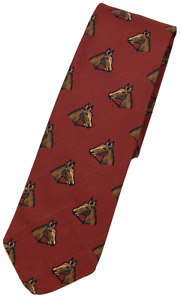 NWT - Drake's – Rust Silk Tie w/Horse Print, Made in England