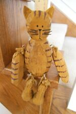 """Wooden Carved Wood Sitting Cat Jointed Shelf Sitter 8"""" Free Shipping"""