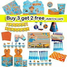 BLIPPI Balloons Table Cover, Banner Kids Birthday Party Supplies Decoration UK