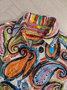 Robert Graham Woman's Shirt Embroidered Flip Cuff Paisley Size Small
