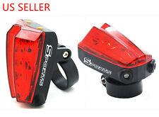 Cycling Bike Bicycle 2 Laser Beam + 5 LED Rear Tail Flashing Light Warning