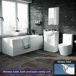 550mm Vanity Unit, Close Coupled WC Toilet Straight Edge Bath Bathroom Suite