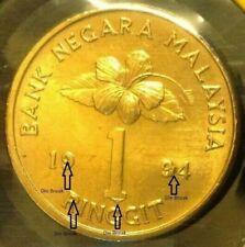 "MALAYSIA RM1 Coin ERROR DIE BREAK (Keris/Songket) 1994 Semi Key Date ""UNC/BU""#1"
