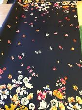 Border Print Polyester Satin  fabric floral flowers by the metre