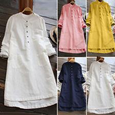 Womens Buttons Long Sleeve Lady Asymmetrical Loose Tunic Tops Mini T Shirt Dress