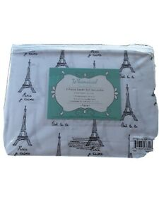 Whimsical Collection 3 Piece Sheet Set Twin Eiffel Tower NIP On Sale! Sale!