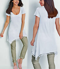 Zipfelshirt Longshirt Tunika m. Leinen Gr. 52/54 Strandkleid weiß 970026 NEU