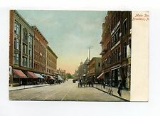 Brockton MA Mass Main Street view, trolley tracks, people, stores, signs, early