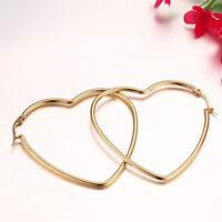 18K Gold Plated Women's Jewellery Stainless Steel Big Heart Shaped Hoop Earrings