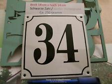 Hausnummer Nr. 34  schwarze Zahl auf weißem Hintergrund 14 cm x 14 cm Emaille