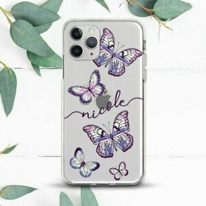 Custom Name Butterfly Pink Violet Case For iPhone 7 8 X SE 11 12 13 Pro Max XR