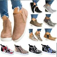 Fashion Womens Flat Casual High Top Sneakers Ankle Boots Zip Trainers Shoes Size