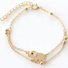 féminine Lady Charm strass Or Elephant Bracelet chaîne Bijoux cadeau