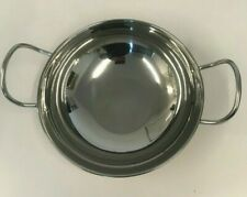 Stainless Steel Copper Base Balti Curry Food Cooking Serving Handled Dishes 25cm