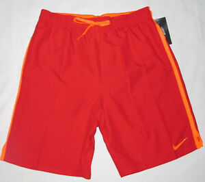 "New Nike Diverge 9"" Trunk LIned Red Boardshorts Swim Shorts Size Medium 32 34"