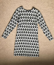 H&M Women's Dress, Size 8, Tunic, Long Sleeve, Black & White Dog Pattern