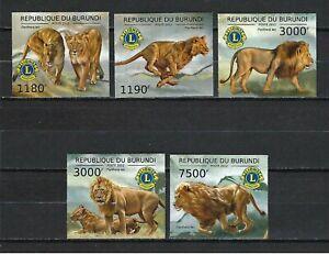Burundi 2012 Sc#1195a-d,#1220 Lions/Lions Club Emblem  MNH Imperf. Set $20.80