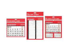 2022 Calendar, Wall Calendars, Large Print, Easy View, 3 Months to View