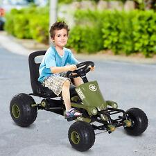 HOMCOM Coche de Pedales Go Kart Carga 35kg 99x65x56cm Marco Acero Negro y verde