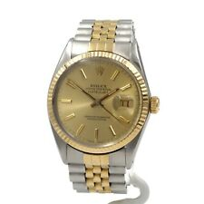 ROLEX 18K STAINLESS TWO TONE DATEJUST 16013 W/BOX PAPERS JUBILEE 36MM NR #8690