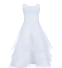 White Flower girl Dress Jayne Copeland Satin Flower Ribbon Girls Size 8