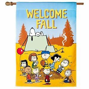 Welcome Fall Harvest Season Autumn Snoopy Peanuts Outdoor Garden Flag Banner