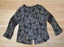 Lane Bryant Peasant Top Shirt Blouse Black Brown Print Crinkle Lace Sleeve 18/20
