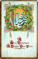 1910 Merry Christmas Happy New Year Wreath Embossed Antique Postcard IF