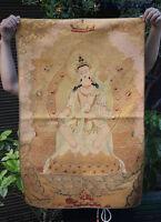 "36"" Tibet Buddhism Silk Cloth Kwan-Yin Guanyin Goddess Thangka Painting Mural 20"