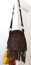 Original 60s Vintage Brown Boho Hippy Tasselled Suede Shoulder Bag