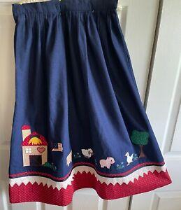 Vintage 80s skirt blue floral ankle length buttoning size m
