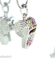 W Swarovski Crystal Whistle Trainer Referee Cheerleader Multi Necklace Jewelry