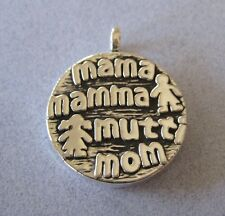 Mexican Taxco 925 Silver Mothers Gift MAMA Mamma Mom Mutt Round Thick Pendant