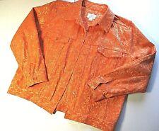 CHRISTOPHER & BANKS Women's Stretch Orange Jacquard Trucker Jacket Size M Bust42