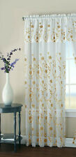 """Floral Embroidery Matte Sheer Window panel w attached  Valance 84"""" malta curtain"""