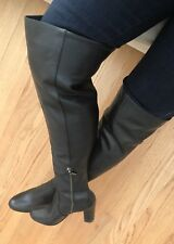 New Michael Kors Black Leather Sabrina Over The Knee Walker Boots 7