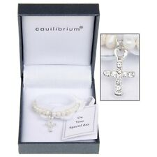 Christening Gift - Pearl Cross Detail Baby Bangle JD9210