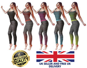 New *2 Pcs* Women's Yoga Running Fitness Gym Work Out Leggings and Vest Top Set