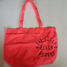 "Victoria's Secret PINK Tote Bag Beach Bag Coral Pink "" Eat sleep Beach Sleep"""