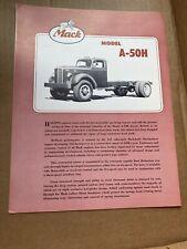 Vintage Mack Model A-50H Truck Sales Brochure Semi Truck Tractor