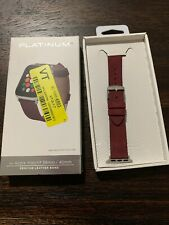 Platinum- Soft Leather Watch Strap for Apple Watch 38mm/40mm Maroon PREOWNED!