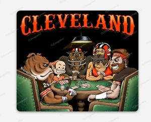 Cleveland Browns MAGNET - Dawg Pound Poker Style - Premium NFL Chubb Baker Dogs