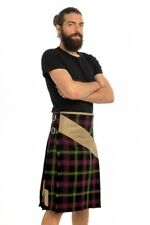 Khaki Belt Hybrid Tartan Kilt by Scottish Kilt | Made To Measure