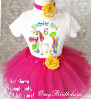 Cute Pink Rainbow Unicorn 6th Sixth Birthday Tutu Shirt Outfit Set Party Dress