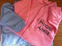 PERSONALISED PRINCE/PRINCESS PINK OR BLUE BABY SLEEPSUIT/BABYGROW OR PYJAMAS